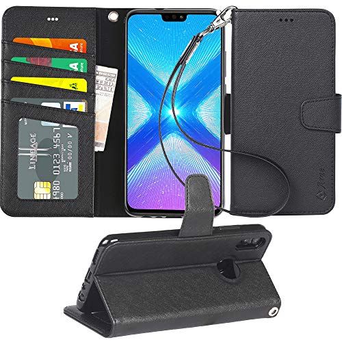 Arae Handyhülle Kompatibel mit Huawei Honor 8X Leder Hülle Tasche Flip Cover Schutzhülle - Schwarz