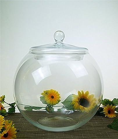 Round Glass Handmade Bonbon Jar Candy Bowl Biscuit Cookie Fishbowl