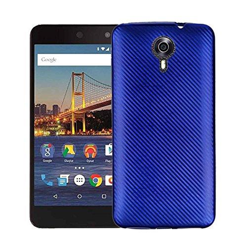 MOONCASE Google General Mobile 4G Hülle, Carbon Fiber Flexible Rüstung Handyhülle Ultra Slim Fallschutz Anti-Scratch Schutztasche Case für Google General Mobile 4G Blau