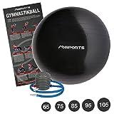 Gymnastikball Studio inkl. Pumpe 55 cm - 105 cm Sitzball - Fitnessball inkl. Übungsposter Medizinball (Anthrazit, 95 cm)