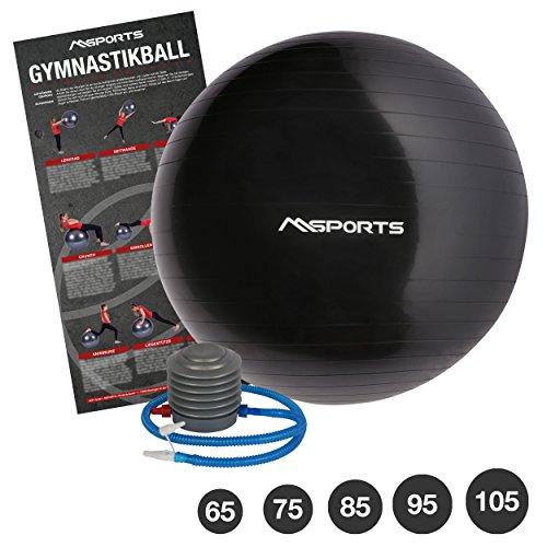 MSPORTS Gymnastikball Studio inkl. Pumpe 55 cm - 105 cm Sitzball - Fitnessball inkl. Übungsposter Medizinball (Anthrazit, 85 cm)