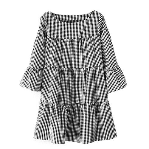 hansee Plus Größe Frauen Kleidung Plaid Plissee Sommer lose Casual Gitter Kleid, damen, schwarz - Samt Gitter