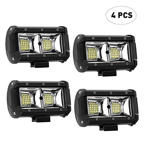 AAIWA Faro Luce LED, Flood Light 5' 96W 4pcs, Fari Luci di Lavoro Impermeabili IP68 e Potenti,Faretti Barra LED Fuoristrada, Fendinebbia per Auto, Truck,4x4