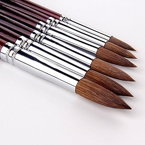 GP 6pcs Round Point Tip Paint Brush Set Kolinsky Sable Hair Artist Quality Art Painting Brush