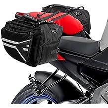 Lions - Alforjas ampliables para motocicleta, color negro