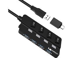 VEMONT Hub USB, 4 Puertos USB 3.0 Hub de Datos USB, Divisor USB Extensor con interruptores de alimentación LED Individuales p