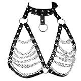 PETMHS Damen Harness Bra ärmelloser BH Leder Top Punk Gothic Brust Gürtel Hüftgurt für Metallkette (Schwarz) - 2