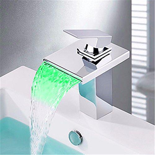 Preisvergleich Produktbild HONGLONG Neue moderne LED-RGB-Wasserfall Chrom Einhebelsteuerung kein Akku Mixer Armatur Armaturen Badezimmer Waschbecken Wasserhahn