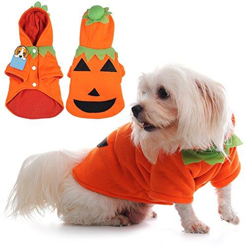 häre Haustier Kleidung Halloween Kürbis Kostüm mit Kapuze Kleidung geeignet für Mittelklein) Hunde Katzen und andere kleine Tiere ()