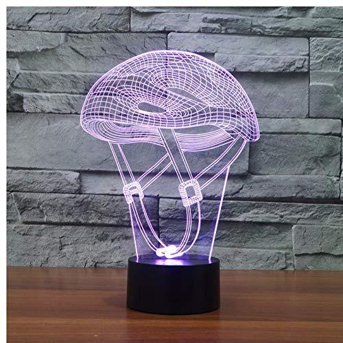 Kreative Beleuchtung für Zuhause Schlafzimmer 3D LED Mountainbike Helm Nachtlicht für Kinder 7 Farbwechsel Beleuchtung Beleuchtung Ventilator Sport Geschenke -