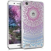 kwmobile Funda para Huawei GR3 / P8 Lite SMART - Case para móvil en TPU silicona - Cover trasero Diseño Sol hindú en azul rosa fucsia transparente