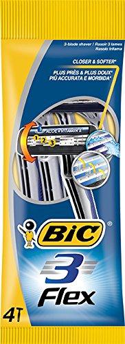 BIC 3 Flex Rasierer Set Männer, 3 Klingen, Für empfindliche Haut, 4 Stück