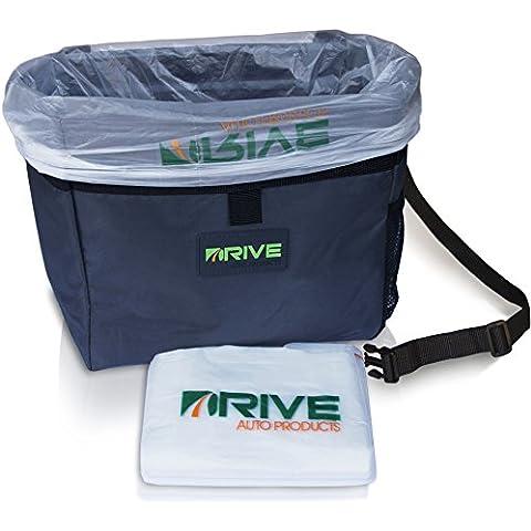 DRIVE Papelera portátil para automóvil, incluye bolsas protectoras, se puede colgar, uso universal, impermeable, también se puede usar como nevera para