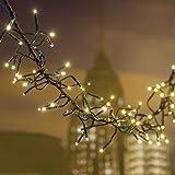 Chaîne Festoon 12,5m, ø 12cm, 1104MiniLed Blanc Chaud Ø 3mm, câble Vert, Lumières Décoratives, lumières de Noël, chaîne pour Arbre de Noël