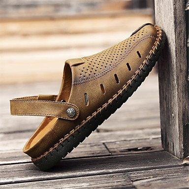 Los hombres sandalias Primavera Verano Confort Soles de luz exterior de cuero Casual talón plano caqui oro negro Zapatos para caminar US9.5 / EU42 / UK8.5 / CN43