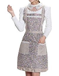 Sanwood femmes chef de cuisine Tablier de cuisine Motif floral Taille unique Type 7