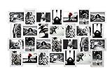 Rebecca Mobili Cornici multiple da appendere, bacheca portafoto bianca, 28 foto formato 10 x 15, mdf, decorazione casa - Misure: 58 x 103 x 2 cm (HxLxP) - Art. RE4144