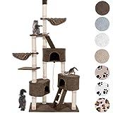 Happypet Kratzbaum für Katzen Deckenhoch 230-260 cm Extra Dicke Säulen mit Sisal ca. 8,0 cm Höhlen Liegemulden Treppen Spielseil Braun