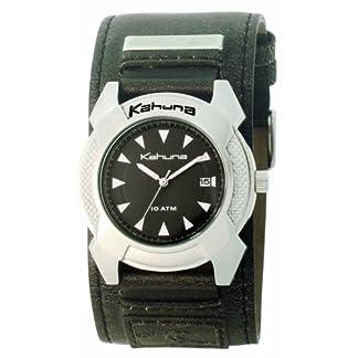 Kahuna 252-5404G – Reloj analógico de caballero de cuarzo con correa de piel negra – sumergible a 100 metros