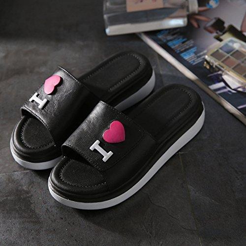 TMKOO& L'amour d'été nouvelle mode porter des sandales à talons hauts et des pantoufles glisser couple de femmes sandales en plein air B