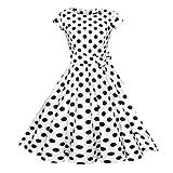 Vintage Sommerkleid Frauen SUNNSEAN Damen Wellenpunkt Kleider Gürtel Großes Pendel Kleid Beliebt Lässig Krawatte Gürtel Party Kleide Hepburn Elegante Strandkleider (2XL, Weiß)