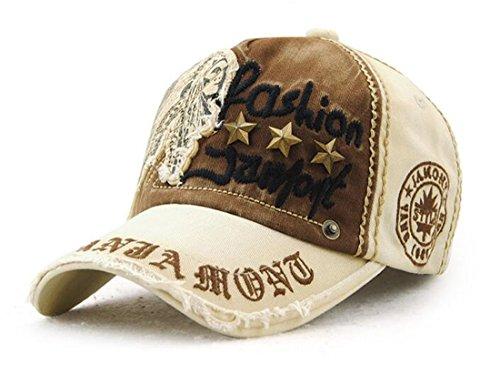 Roffatide Retro Baumwolle Niet Beschriftet Baseball Cap Mütze Kappe Strapback Beige (Polo Performance Stripe Textured)