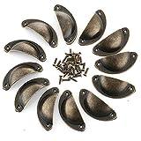 Malayas 12PCS Poignées et Boutons de Tiroir Porte Placard Poignée de Meuble en Fer Durable Forme de Demi-Cercle avec Style Vintage et Industriel 8.1 x 3.3cm - Couleur Bronze
