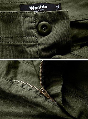 Wantdo Pantaloncini Uomo Combat Cargo in Cotone Verde militare