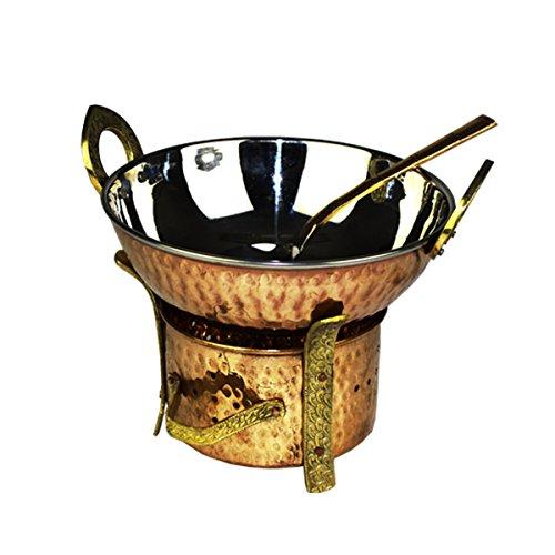 Original indiano 3Piece Set per servire karahi Angithi cucchiaio, Multi, Set für 2 Portionen/Personen