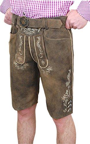 Spieth & Wensky Herren Lederhose Phil kurz mit Gürtel, Größe:56;Farben:antik/schiefer/natur