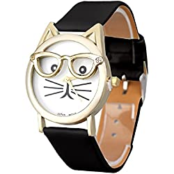Mallom® Women Lovely Watches Cute Glasses Cat Wrist Watch Black