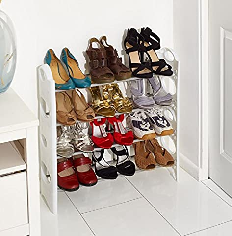 Vinsani 4 Tier Free Standing Shoe Rack Stand Storage Organiser Shelf Home Furniture (White)