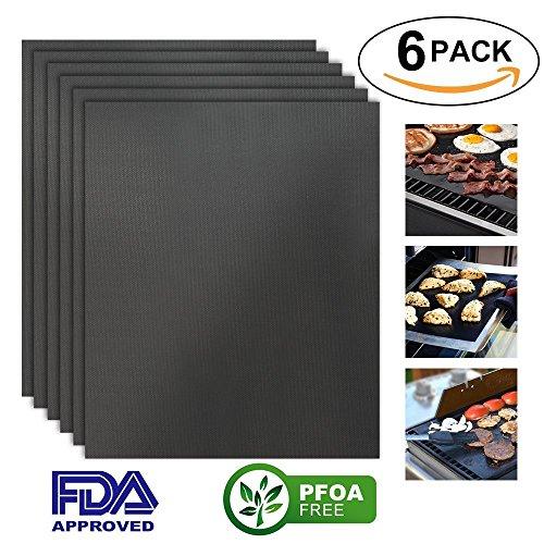 [6 Stück] Grillmatte, HTINAC Backmatte für Backofen, Gas, E-Grill, Kohle, Antihaftbeschichtung für bis 260°C, LFGB und FDA Zulassung, 50*40cm