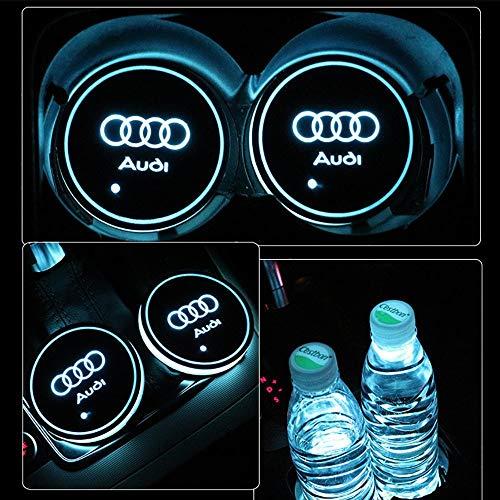 2pcs LED Auto Cup Halter Matte Pad Wasserdicht Flasche Getränke Untersetzer für Universal Auto zur Autodekoration Stimmungslicht Innenraumbeleuchtung wasserdicht (Audi)