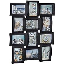 Relaxdays marco de fotos múltiple para 12 fotografías, Plástico, Color negro, 60,