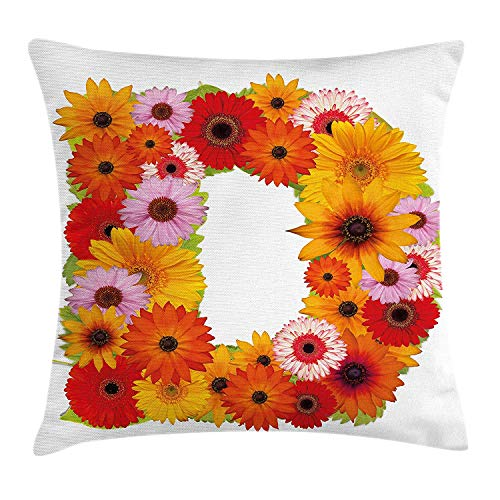 KAKICSA Letter D Throw Pillow Cushion Cover, Alphabet Symbol with Various Different Daisies Chamomiles Colorful Summer Petals, Decorative Square Accent Pillow Case, 18 X 18 inches, Multicolor