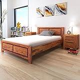 Festnight Holzbett Doppelbett Bett Bettgestell Gästebett aus Akazienholz ohne Matratze 140 x 200 cm Braun