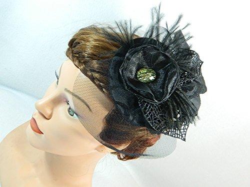 Fascinator schwarz Damenhut Minihat Hütchen (Samba Kostüm Girl)