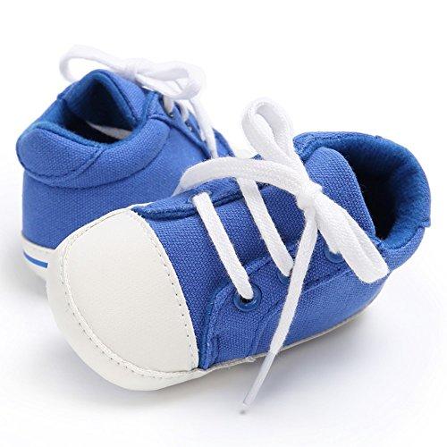 MiyaSudy Säugling Neugeborenes Babyschuhe Baby Mädchen Jungen Weiche Sohle Anti-Rutsch Canvas Causal Schuhe Lauflernschuhe Blau