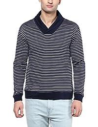 Hypernation Blue And Whtie Stripe Shawl Collar Cotton T-shirt For Men