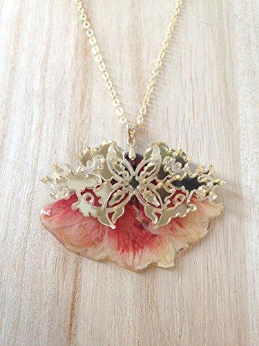 Lange Halskette, echte reine rosa Blume Blossom lackiert Harz, Messingkette, Brillant, Gold Charms -