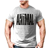 YeeHoo Herren Animal Kurzarm Tank Shirt Optimal für Fitnessstudio, Gym & Bodybuilding,Slim-Fit, Rundhals Print