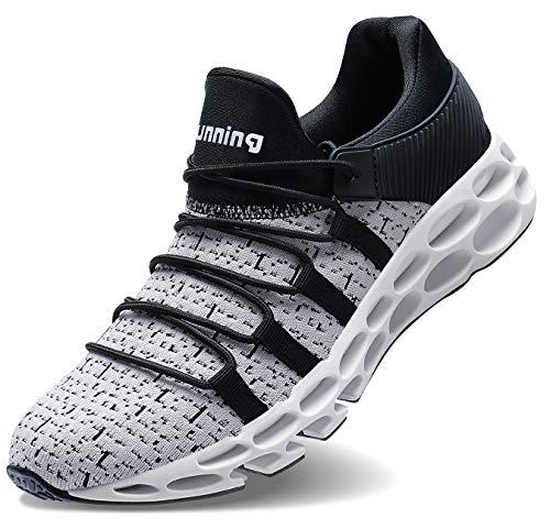 Wonesion Herren Fitness Laufschuhe Atmungsaktiv Rutschfeste Mode Sneaker Sportschuhe,   44 EU,   2-grau