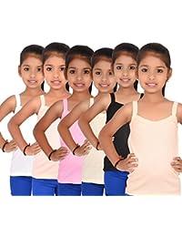 ALOFT Girls Multicolour Plain Cotton Slips/Camisole/Vests PerfectzSlips-6Pcs_3-4 Years