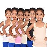 #3: ALOFT Girls Multicolour Plain Cotton Slips/Camisole/Vests - Pack of 6pcs