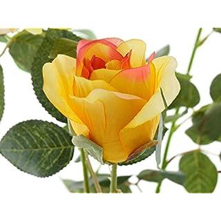 aniba Design aniba Kunstrose mit 3 Blüten und 3 Knospen gelb ABROS010
