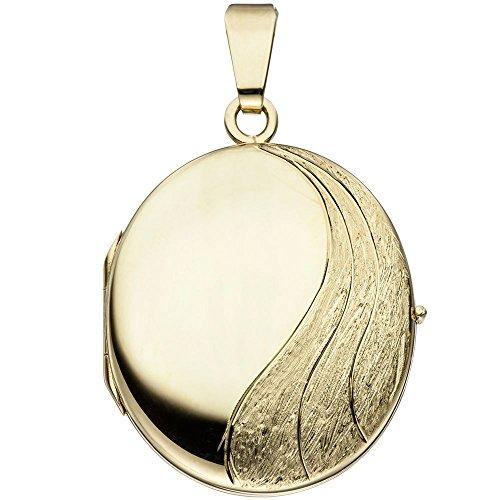 Medaillon Anhänger Amulett aus 585 Gold teilmattiert Halsschmuck Unisex