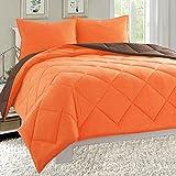 Elegant Comfort Parure letto in 3 pezzi con piumino leggero 4 stagioni, double-face, per letto matrimoniale/queen size, colore: arancione/cioccolato