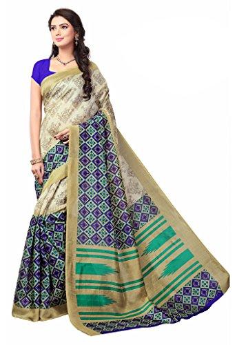 ISHIN Bhagalpuri Art Silk Beige Printed Women's Saree  available at amazon for Rs.499