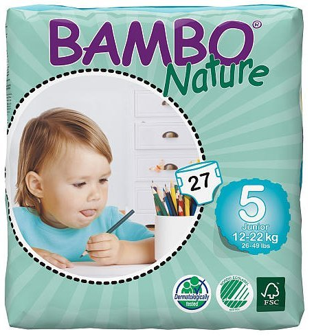 Nature Bambo Junior (12-22 kg) 27 pcs, funda de almohada de pañales